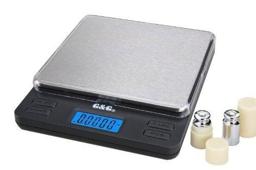 GundG LS - Bilancia digitale di precisione tascabile, per cucina/oro / monete, superficie di carico XL 200 x 0,01 g incl. calibratore di peso