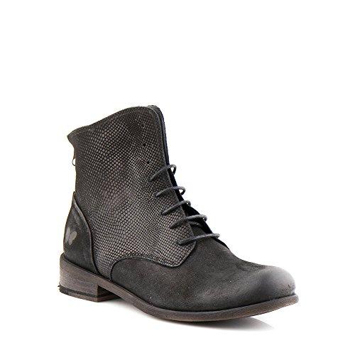 Felmini - Damen Schuhe - Verlieben Bomber 8497 - Stiefel mit Schnürung - Echte Leder - Schwarz Schwarz