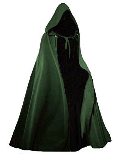 Dark Dreams Gothic Mittelalter LARP Langer Kapuzenumhang Cape Unisex Sinistra, Farbe:grün, (Capes Gothic)