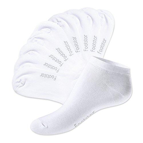 Footstar Lot de 10 paires de socquettes SNEAK IT! - unisexe - Blanc 39-42