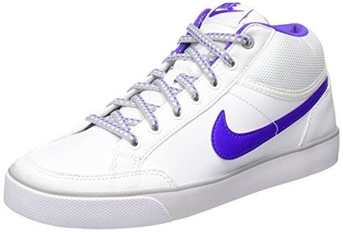 Nike Capri 3 Mid Ltr, Chaussures de Tennis Mixte Enfant Blanc / violet / gris (blanc / hyper raisin - gris loup)