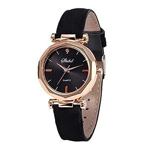 Damen-Armbanduhr MEIbax Leder Casual Uhr Analoge Quarzkristall Digitaluhren Mode PU Leder Uhrenarmband