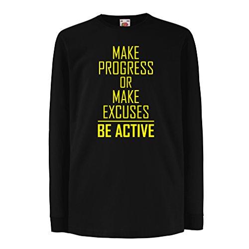 """Kinder-T-Shirt mit Langen Ärmeln """"Be Active - Leben ohne Ausreden"""" - Motivation - inspirierend tägliche Angebote für Erfolg (14-15 Years Schwarz Gelb)"""