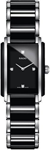 Rado Integral Damen Diamanten 23mm Schwarz Keramik Armband Uhr R20613712
