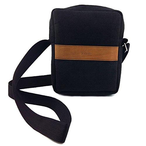 Venetto Umhängetasche Herren Damen Unisex Schultertasche Freizeit Business Tasche aus Filz mit Echtleder-Applikationen (Schwarz Meliert) Schwarz