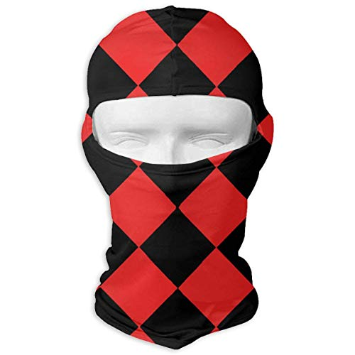 Red and Black Check Pattern Winter Hiking Full Face Mask Dust Protection Neck Cover Hood for Men and Women (Check Black Bekleidung)