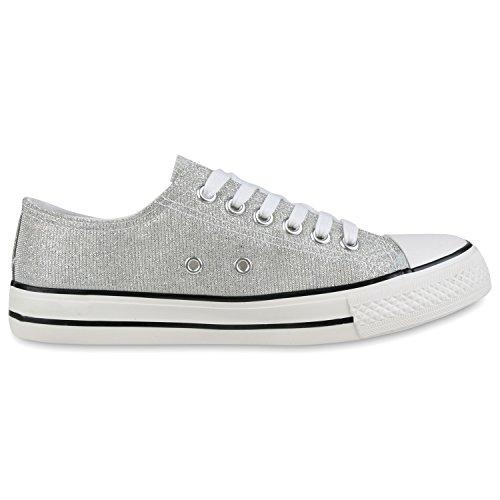 Japado Elegante Damen Sneakers Low Glitzer Canvas Schuhe Turnschuhe Freizeit Gr. 36-41 Silber-Weiss