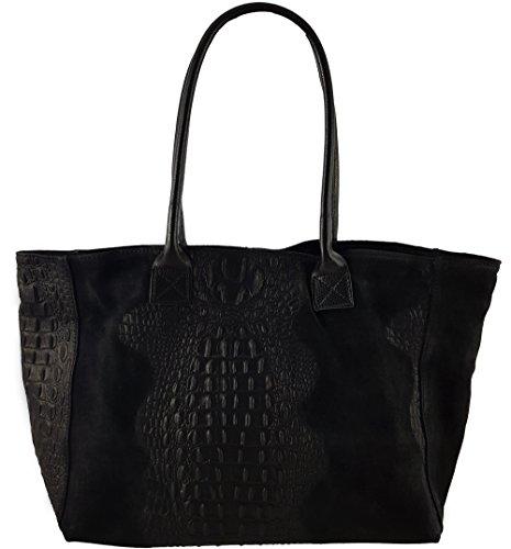 Freyday Damen Henkeltasche Handtasche Kroko Schlangen Strauß Optik versch. Farben 100% Leder (Kroko Schwarz) (Krokodil Schlange)