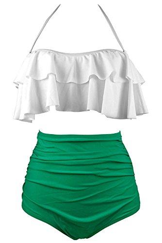Laorchid Damen Bademode Push Up Volant Bikini Tankini Set mit Hohe Taille Shorts Weiss + grün XL (Volant Weiß Grün)