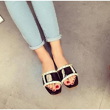 LFNLYX Les femmes d'été, sandales talon plat extérieur PU autres Noirs Blancs Autres Black