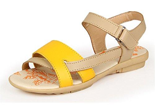 Auspicious beginning Pattini piani della spiaggia di Sandals di pigolio del cuoio Comfy della punta per le donne Giallo