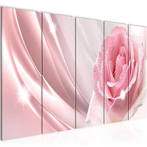 Bilder Blumen Rose Wandbild 200 x 80 cm Vlies - Leinwand Bild XXL Format Wandbilder Wohnzimmer Wohnung Deko Kunstdrucke Rosa 5 Teilig - MADE IN GERMANY - Fertig zum Aufhängen 201055a - Rosa Bild Rosen