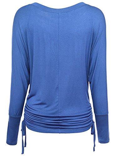DJT Damen Rundausschnitt T-shirt Langarm Volant Falten Verstellbare Baende Tops Blau-T20
