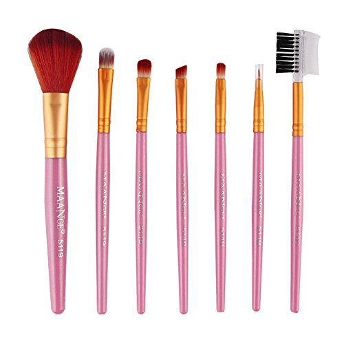 Rrimin 7 Pcs Powder Foundation Eyeshadow Eyeliner Lip Brush Tool Set Makeup Brushes Kit (Pink and Gold)