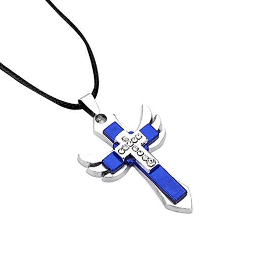 IGEMY Kreuz Angel Wing Anhänger Black Chain Fashion Halskette für Männer - Angel Wings (Blau) (Angel Halskette Männer Für Black)
