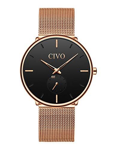 CIVO Reloj Negro Ultra Fino para Hombre Minimalista Lujo Moda Relojes de Pulsera para Hombres Impermeable Reloj de Cuarzo para Hombre con Banda Negro de Malla de Acero Inoxidable (Dorado)
