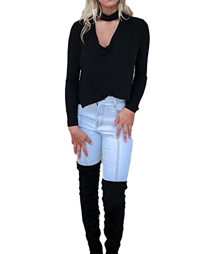 ZANZEA Damen Langarm Querbinder Slim Büro Club Hemd Blusen T-Shirt Oberteil Top Schwarz#
