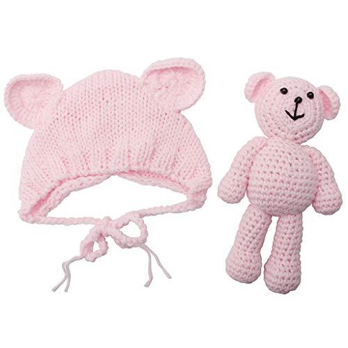 Bär Kostüm Boy - Yunso Neugeborenes Baby Girl Boy Fotografie Prop Foto häkeln Stricken Kostüm Bär + Hut Set (Hellrosa)