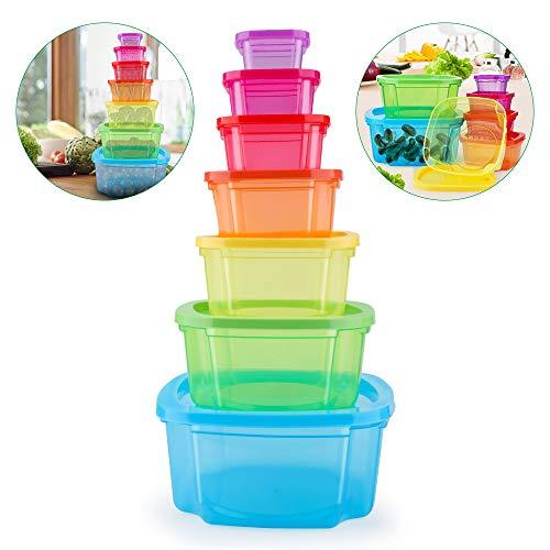 MUXItrade Set di Contenitori per Alimenti Senza BPA Impilabile 7 Pezzi Certificato LFGB Adatto per lavastoviglie Congelatore Microonde