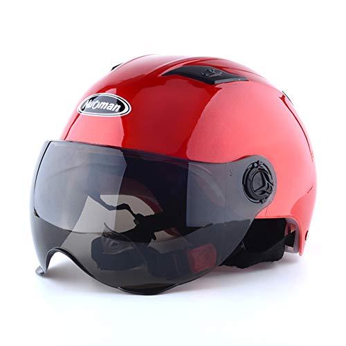 HSKS Red Motorradhelm, Männer und Frauen Vier Jahreszeiten Anti-Fog-Doppelspiegel Halbsturzhelm Sommer warm und volle Deckung Sicherheit