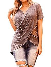 Damen Sommer V-Ausschnitt Kurzarm T-Shirt Freizeit Top Slim Fit Oberteil 34-42