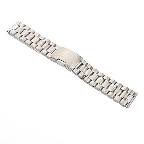 Foxnovo Uhrenarmband 24mm fester Verbindungen Strap Gerade mit 2 Stück beobachten Pins Federstege Ende (Silber)