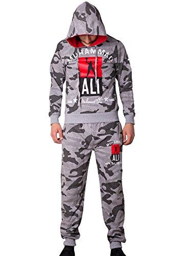 Herren Trainingsanzug / MUHAMMAD ALI Champion / Hose + Hoodie / SLIMFIT (XL, Camouflage - Grau) (Top Tank Champ T-shirt)