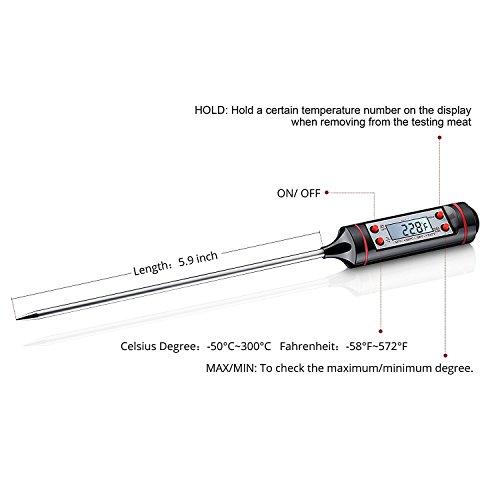 Okayji Digital LCD Cooking Food Meat Probe Kitchen BBQ Thermometer Temperature Test Pen