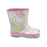 M&Co Girls Pink Unicorn Rainbow Wellington Boots