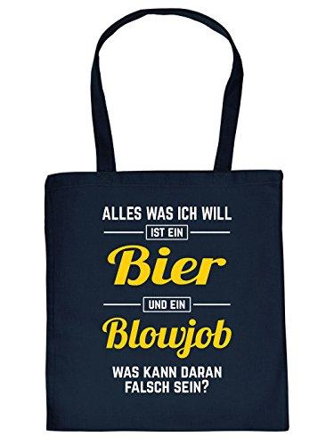 Stoff Einkaufstasche mit versautem Motiv - Alles was ich Will ist EIN Bier und EIN Blowjob - schweinisch - pervers - Sex