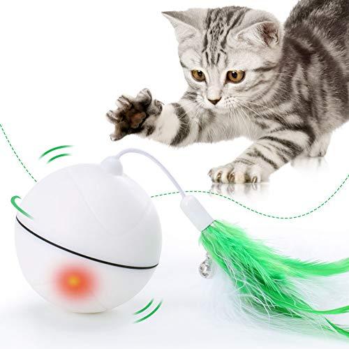 MEGIVEZ Interaktive Katze Spielzeug Multifunktionale Automatische Selbst Rollenden Ball Katze Hund Hinterher Ball Mit Eingebauten USB - Port Und Abnehmbare Feder
