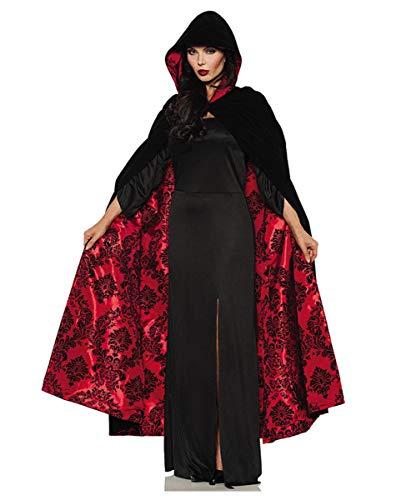 Horror-Shop Schwarz-roter Deluxe Vampir Satin SAMT Umhang für Halloween -