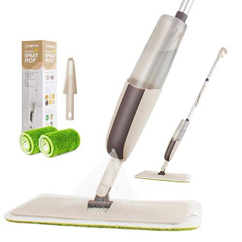 CXhome Sprühwischer für Bodenreinigung,Bodenwischer mit Sprühfunktion,Wassersprühwischer mit Wassertank und 2 waschbaren ersatzbezug,Spray Mop mit Sprühdüse für Home Küche(Grau-Grün)