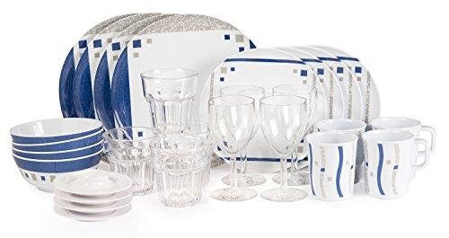 Sesua Melamingeschirr Cubic Blue Starterset 28 Teile inkl. 4xWeinglass + 4X Trinkglass+4xEierbecher