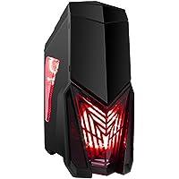 Game Max Destroyer, Alloggiamento per PC gaming, con 15 luci a LED verdi, 3 x 12 cm rosso