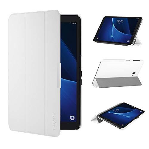 EasyAcc Ultra Dünn Hülle kompatibel für Samsaung Galaxy Tab A 10.1, mit Standfunktion und Auto Sleep/Wake Up Funktion Slim Leder Case Perfekt kompatibel für Galaxy Tab A 10.1 Zoll T580/ T585, Weiß