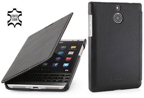 StilGut Book Type Case, Hülle aus Leder für BlackBerry Passport Silver Edition, Schwarz Nappa