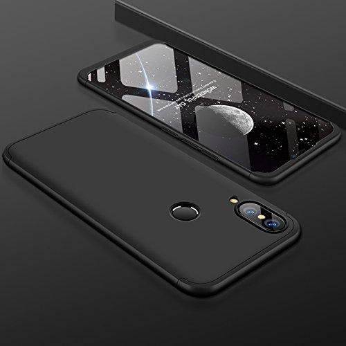 PAIPAIGUAN Huawei P20 Lite Hülle Huawei P20 Lite Handyhülle 3 in 1 Ultra Dünner PC Harte Schutzhülle 360 Grad Hülle + Panzerglas für Huawei P20 Lite Komplett Hülle Fullbody Case Cover - Schwarz