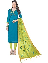 Women'S Blue Semi Stitched Embroidered Banglori Cotton Dress Material