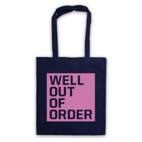"Bene, Out Of Order "", scritta con Slogan divertente Borsa Blu navy"