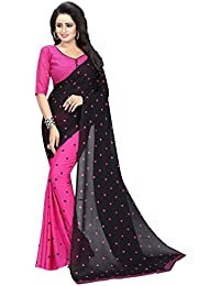 Macube Women's Georgette Saree With Blouse Piece (Ms1480_New_Georgette Saree_Pink)