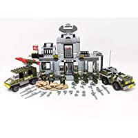 Ingenious Toys military base army building jeep rocket truck 6 solders figures 22703 ...