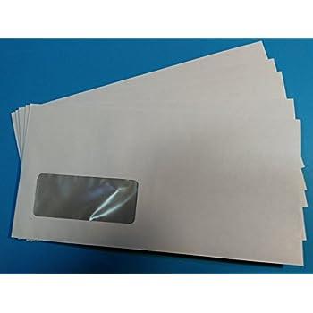 100 Briefumschläge 114 x 229 mm mit Fenster grau  nassklebend