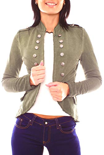 Damen Vintage Uniform Military Admiral Style Sweat Jersey Blazer Sakko Jacke Kurz Knopfleiste Offen Einfarbig S - 36 (M) Olive