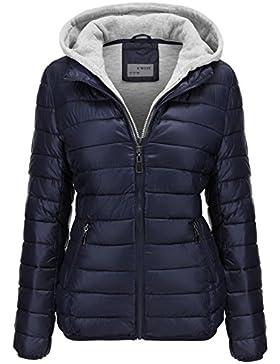 Chaqueta acolchada para otoño-invierno, corta y con capucha para mujer