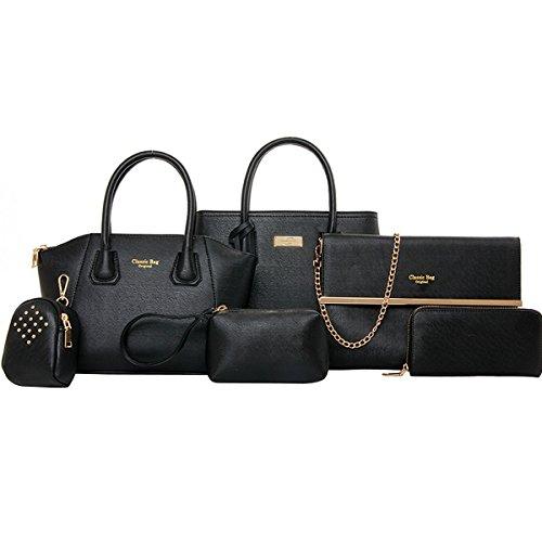 Coofit Damen Handtasche Stellen PU Leder Schulter Bag Kupplung Geldbörsen Tote 6 Stück, schwarz