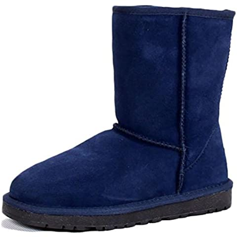 SONGYUNYAN Casual mucca pelle donna Plus cachemire impermeabile classico neve stivali all'aperto , blue , 39