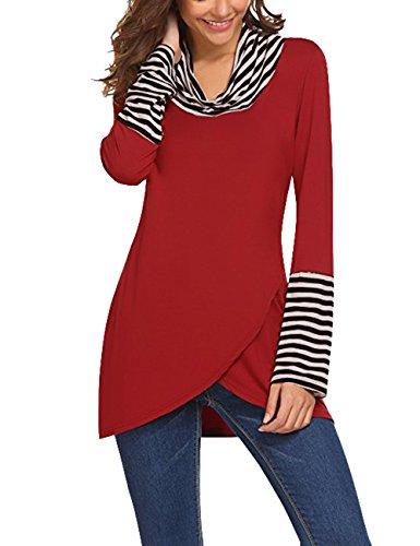 WAJAT Damen Wickeloptik T Shirt Langarm Asymmetrisch Wrap Tunika Gestreifte Tops Rot L (Tunika Cowl-kragen)