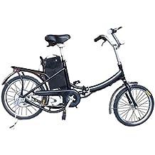 """Fitness House FH 01 - Bicicleta eléctrica urbana , cuadro de acero y ruedas de 16"""", color negro"""