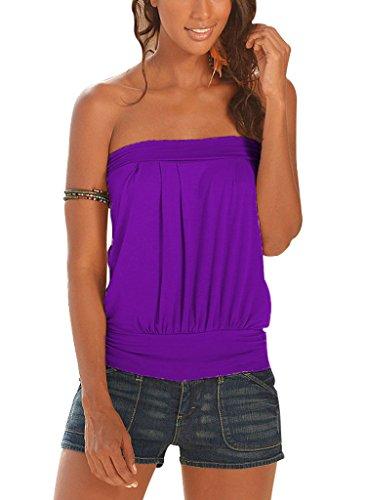 Belleshine - Maglietta sexy, camicetta pieghettata, senza spalline, leggera, stile casual, da donna Purple
